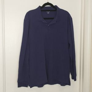 Lands' end purple blue long sleeve polo shirt